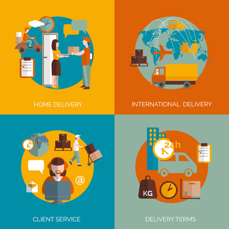 delivery package: International 24h package delivery coordinated logistic clients service terms 4 flat icons composition abstract isolated vector illustration