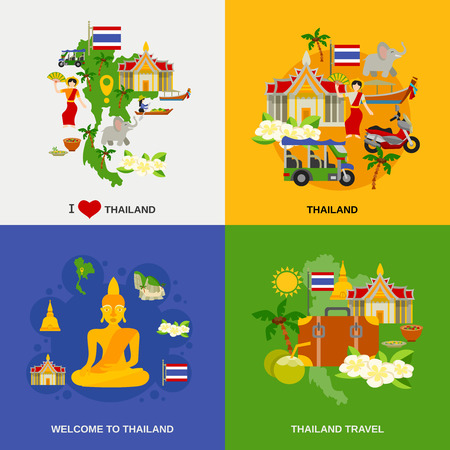 thailand: Thailand tourism concept icons set with sightseeing traditional food and drinks flat isolated vector illustration