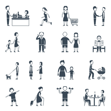 daily life: Human daily life work walk communication and relationship flat silhouette icon set isolated vector illustration Illustration