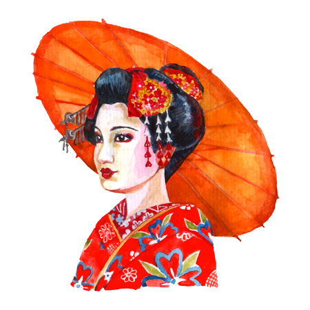 hairpin: Portrait of beautiful japanese lady in traditional women clothing and hair arrangement red watercolor abstract vector illustration