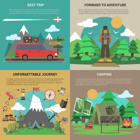 hiking boots: Best trips and camping for unforgettable journey 4 flat square icons composition banner abstract isolated vector illustration