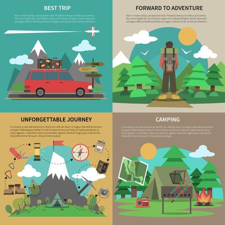 Meilleures voyages et le camping pour voyage inoubliable 4 plat icônes carrées composition abstrait bannière vecteur isolé illustration