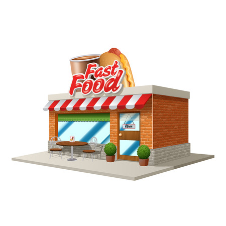 restaurant exterior: 3d fast food restaurant or cafe building isolated on white background vector illustration