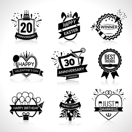 wedding celebration: Birthday and wedding celebration black emblems set isolated vector illustration