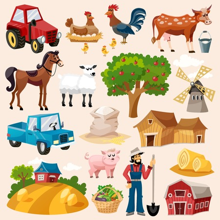 Boerderij decoratieve pictogram set met windmolen koe varken en de boer cartoon geïsoleerd vector illustratie Stock Illustratie