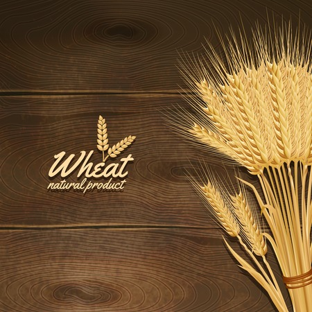 Golden wheat ears bunch on wooden table background vector illustration