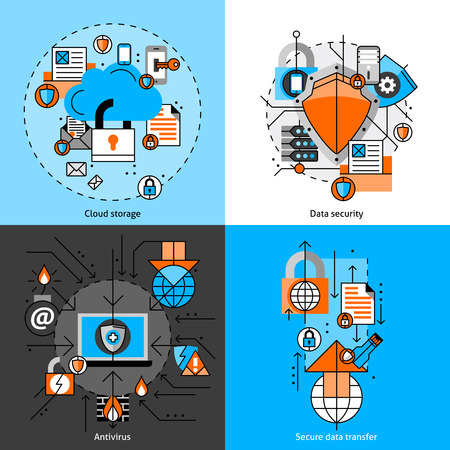 storage unit: Data security and storage line icons set with cloud antivirus and transfer flat isolated  vector illustration