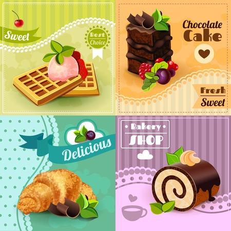 pastel de chocolate: Panadería concepto de diseño conjunto con iconos gofres torta de chocolate dulce croissant aislado ilustración vectorial Vectores