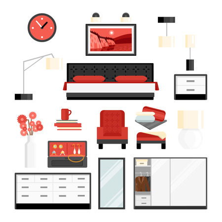 decorative accessories: Bedroom furniture and accessories watch lamp and decoration flat color decorative icon set isolated vector illustration