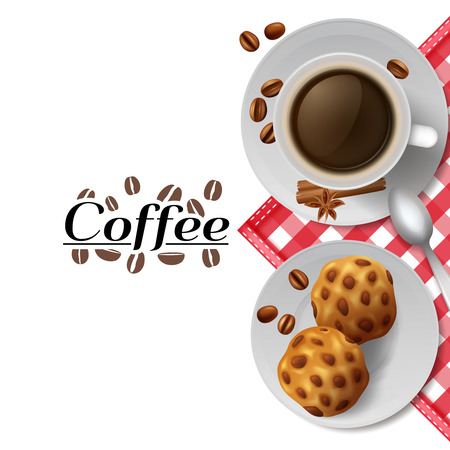 food banner: Start day with cup of black coffee with cookies  best energizer advertisement poster print abstract vector illustration Illustration