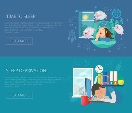 letti: Tempo di sonno banner orizzontale set con elementi piani disturbo privazione isolato illustrazione vettoriale
