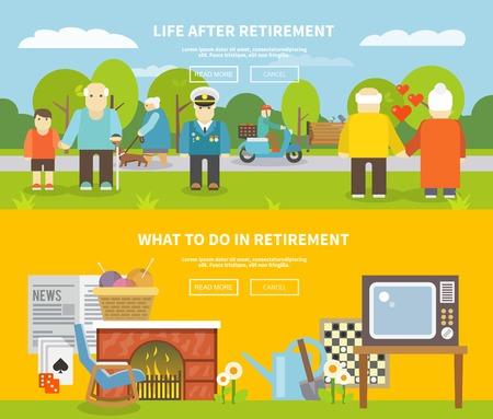 yaşam tarzı: Emekliler yaşam tarzı yatay afiş kıdemli insanlar düz elemanlar izole vektör illüstrasyon seti