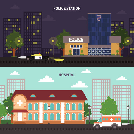 police station: Day night police station and hospital city building street view flat banners set abstract isolated vector illustration