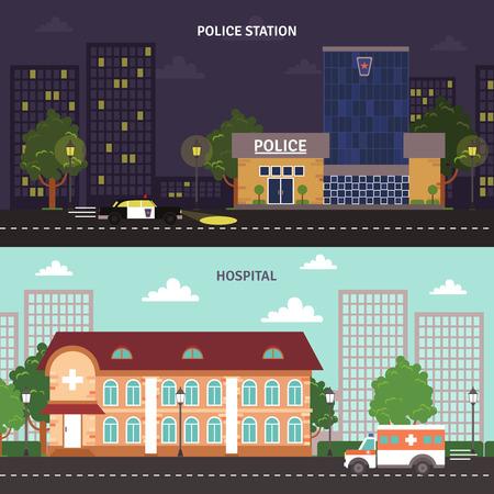 tag und nacht: Tag Nacht Polizeistation und Krankenhaus Geb�ude der Stadt Blick auf die Stra�e flach Banner gesetzt abstrakten isolierten Vektor-Illustration