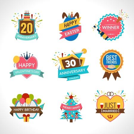 празднования: Празднование festives праздников и юбилеев эмблемы установить изолированный векторные иллюстрации Иллюстрация