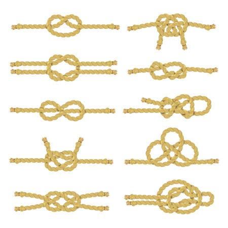 nudo: Cadena de cuerda y cuerda con el nodo nudos y color soga realista icono decorativo conjunto aislado ilustración vectorial