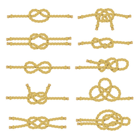 Rope string and twine with knots node and noose realistic color decorative icon set isolated vector illustration Illustration