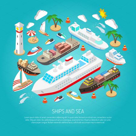 barco caricatura: Mar y barcos con cargamentos transbordadores barcos yates y playas concepto isométrico ilustración vectorial