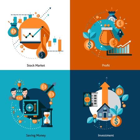einsparung: Anlagekonzept mit Geld zu sparen und Börsengewinn flachen Icons isoliert Vektor-Illustration festgelegt