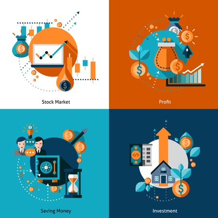 stocks: Investment design concept set with money saving and stock market profit flat icons isolated vector illustration