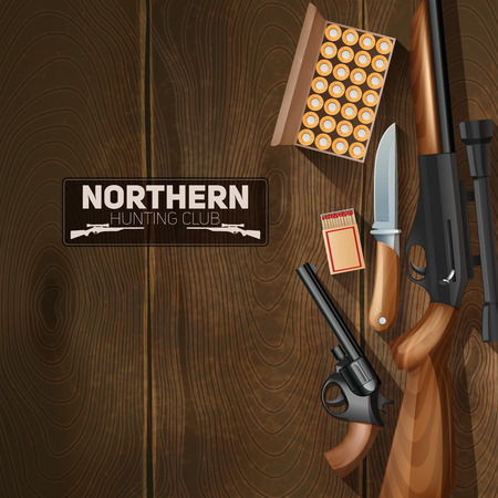 weapon: Hunting weapon and bullets set on wooden texture background vector illustration Illustration