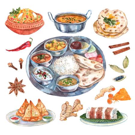 gıda: Geleneksel Hint mutfağı restoran yiyecek maddeleri, ana ve yan yemekler soyut vektör çizim ile kompozisyon posteri piktogramları Çizim