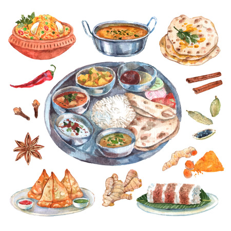 food illustrations: Traditional indian cuisine restaurant food ingredients pictograms composition poster with main and side dishes abstract vector illustration