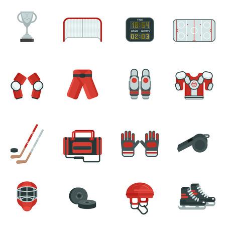 hockey sobre cesped: Hockey atribuci�n ropas equipos y accesorios skates aislado puck y putter icono de color plano conjunto ilustraci�n vectorial