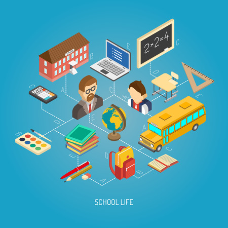 schooldays: Secondary school daily life geography lesson situation concept isometric poster with terrestrial globe abstract vector illustration Illustration
