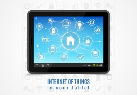 Internet of things concept with realistic mobile tablet and smart home devices symbols vector illustration