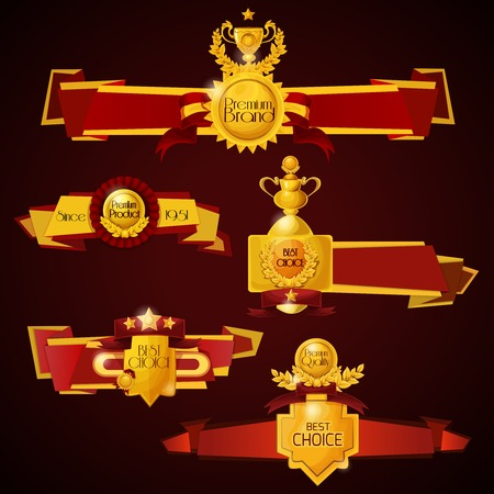choices: Premium products banners set with golden award cups and medals isolated vector illustration