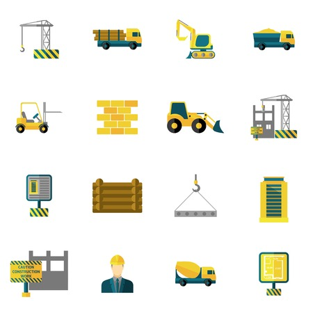 skid steer: Construction icons flat set with building industry and engineering tools isolated vector illustration