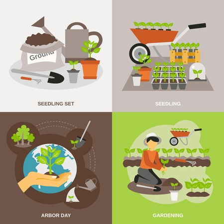 siembra: Seedling concepto de diseño conjunto con iconos planos de jardinería aislados ilustración vectorial