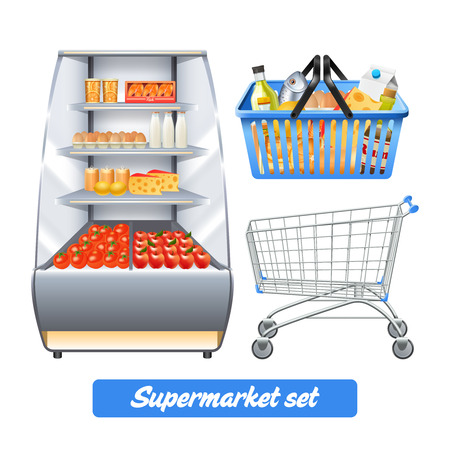 Supermarket set with realistic food shelves shopping basket and empty trolley isolated vector illustration Иллюстрация