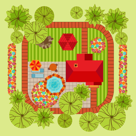 roof top: Flat style landscape design concept with house trees flowerbed pond table and various surfacing vector illustration