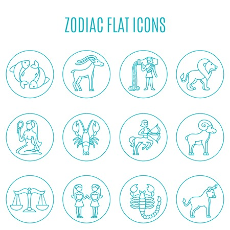 fortune telling: Zodiac icon line set with esoteric fortune telling symbols isolated vector illustration Illustration