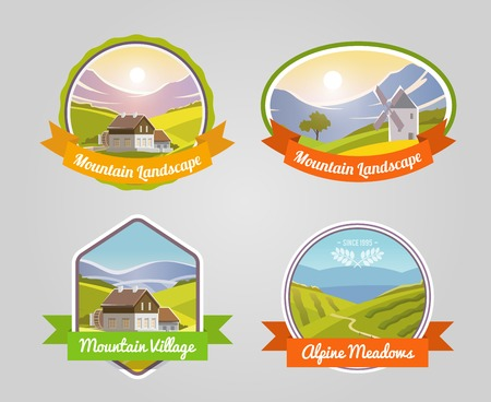 countryside: Mountain landscape label set with alpine meadows and village symbols isolated vector illustration