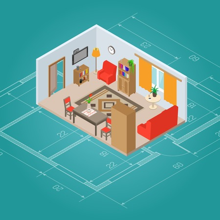 Isometric living room interior plan with 3d furniture vector illustration