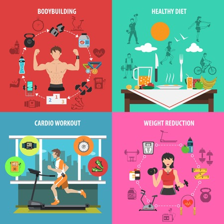 weight machine: Gym design concept set with bodybuilding healthy diet cardio workout weight reduction flat icons isolated vector illustration