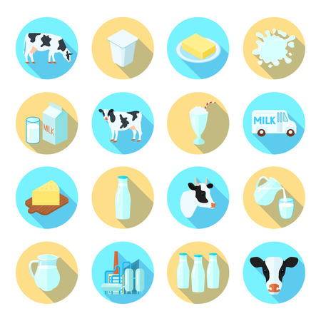 yoghurt: Milk dairy production farm flat icons set with cheese butter round shadow set abstract isolated vector illustration