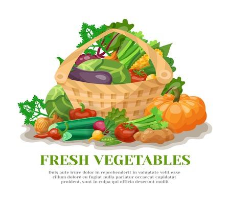vida natural: Todavía vida con la cesta llena de verduras frescas de naturales ilustración vectorial plana