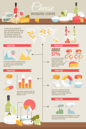 Cheese and wine production country and kinds statistic  flat color infographic set vector illustration Illustration