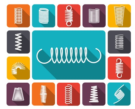 metal spring: Metal spring icons colored icons flat set isolated vector illustration