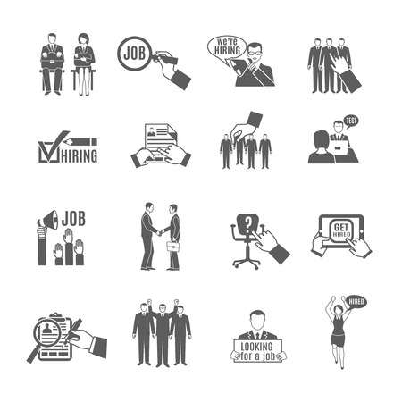 job hunting: Hire for a job and staff hunting black icons set isolated vector illustration