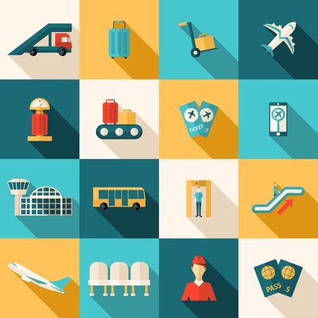 set going: Airport icons flat long shadow set with arrival and departure symbols isolated vector illustration Illustration