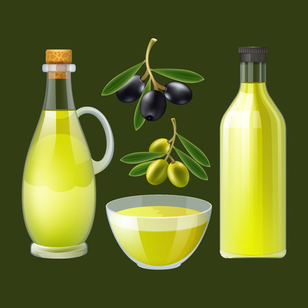 oil: Fresh pressed olive oil bottle and pourer with ornamental black and green olives poster abstract vector illustration Illustration