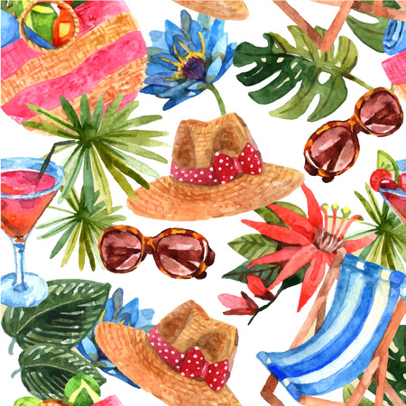 tropical leaves: Tropical beach exotic summer vacation travel wallpaper decorative  seamless pattern with sunglasses and cocktail abstract vector illustration