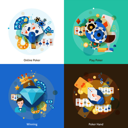 poker hand: Poker with online playing winning and hand icons set flat isolated vector illustration
