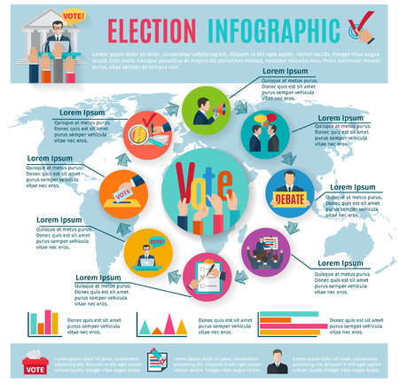 electorate: Election infographics set with voting symbols and charts vector illustration
