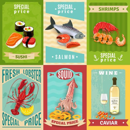 seafood: Premium quality fish and seafood mini poster set isolated vector illustration
